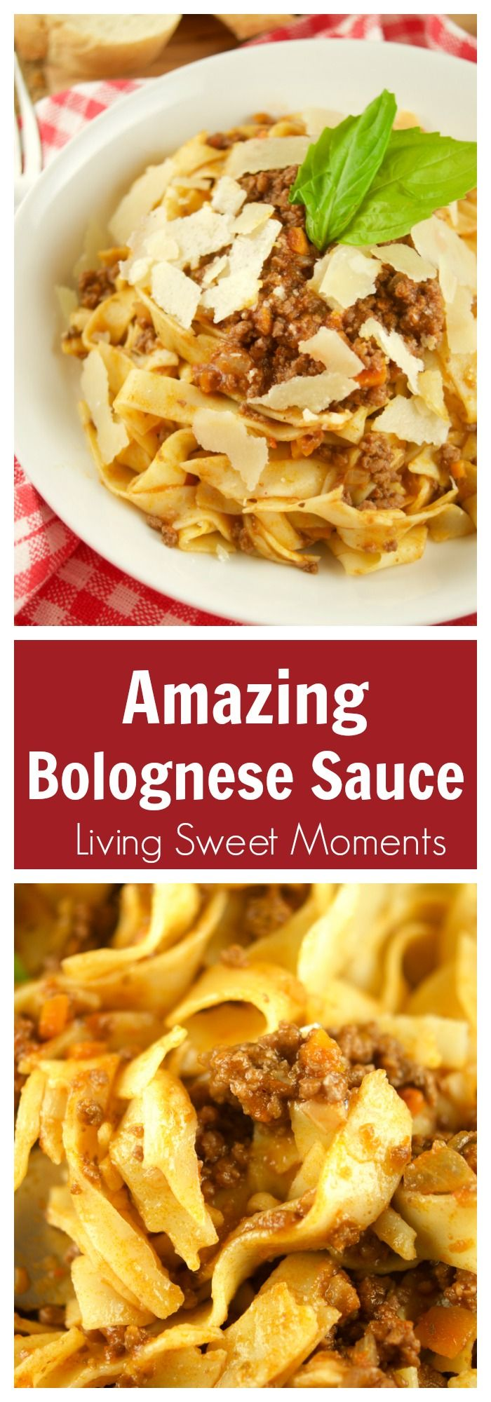 This easy Bolognese Sauce Recipe tastes amazing and is perfect to serve with pasta, lasagna, etc. A truly authentic Italian flavor for dinner. Can be frozen too! More on livingsweetmoments.com