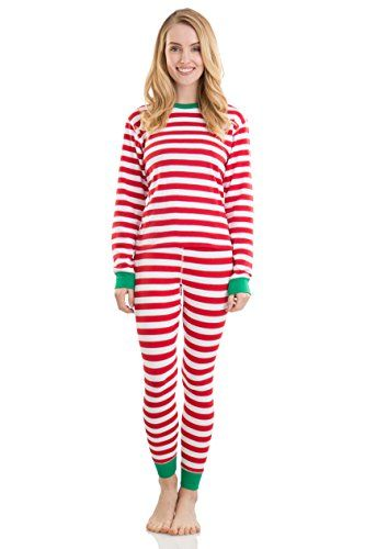 Cool Jams Elowel Adult Womens Mens Family Christmas Fitted Striped Pajamas  Cotton