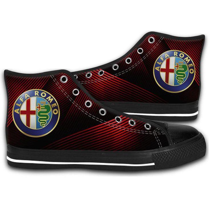 ALFA ROMEO LOGO HIGH TOP CANVAS SHOES MEN'S & WOMEN'S RUNNING   #sport,#running,#shoes,#new