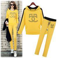 Yellow women Sweatshirts suits autumn winter Two-piece sets sportwear suit outwear Sports Hoodie Costume Set female Tracksuit