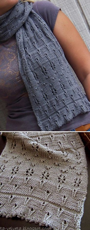 Knitting Pattern for Gossamer Stars Scarf - Lace scarf in DK yarn. Designed by Kat Coyle. Pictured project by Velveta