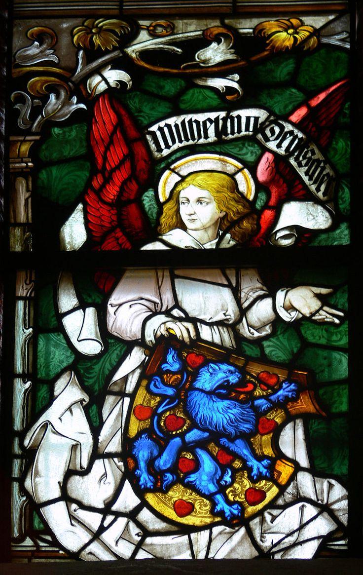 Lüneburg, Kirche St. Johannis Mittleres Chorfenster von Karl de Bouché (1906 von Kaiser Wilhelm II. gestiftet) Lüneburg St Johannis Chor Fenster Detail Wappen 1.jpg