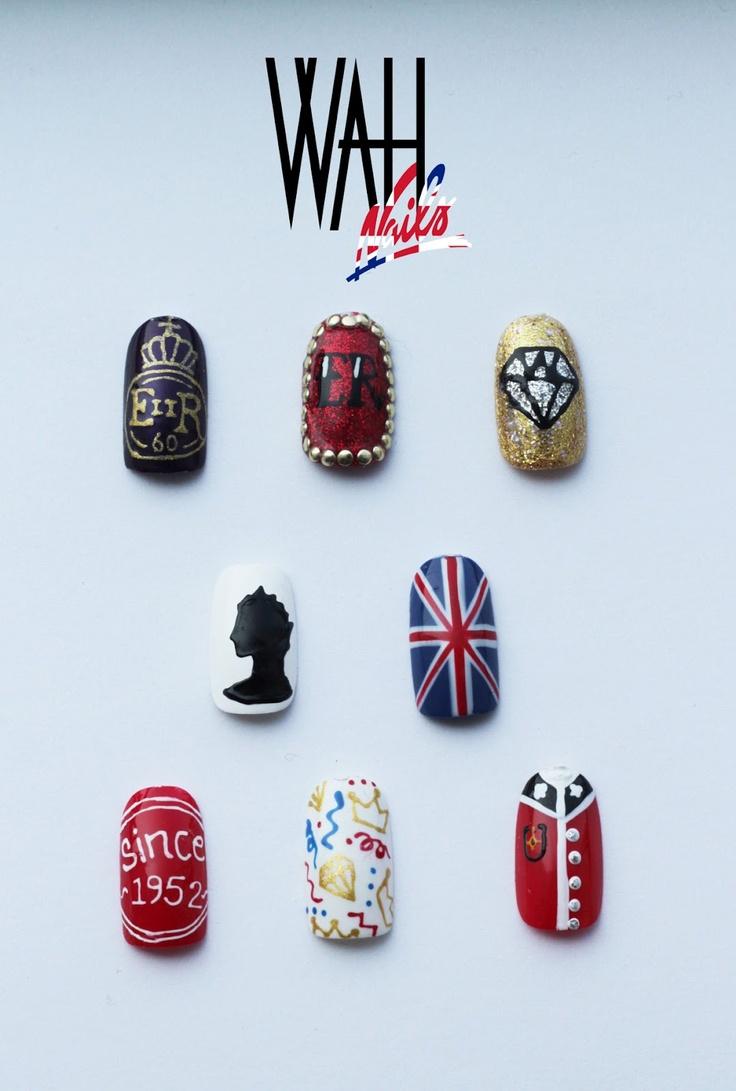 NAIL: Diamond Jubilee, Queens, Awesomes Wahnails, Jubilee Nails, Wahnails Jubileenailart, Jubileenailart Wah, Wah Nails, Nail Art