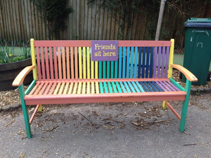 Ideas For Benches Part - 20: The Finished Bench, Complete With U0027Friends Sit Hereu0027 Sign (handpainted Old  Jigsaw Puzzle Base).