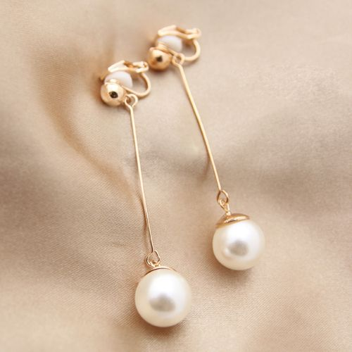 Long simulated-pearl clip on earrings no pierced ears elegant vintage female gift the bridal jewelry brincos boucle d'oreille