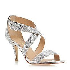 Head Over Heels by Dune - Silver kitten heel glitter crossover strap sandal