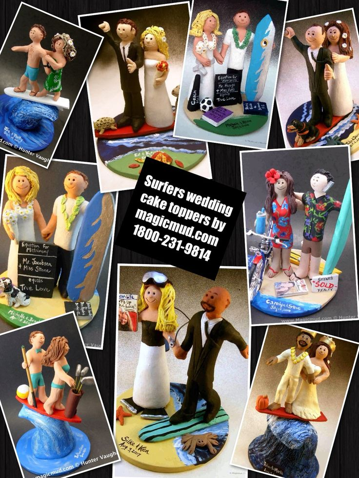 Surfboard and surfing wedding cake toppers by www.magicmud.com 1 800 231 9814 magicmud@magicmud... blog.magicmud.com twitter.com/... $235 #surf #surfing #surferwedding #surfer #surfboard #wakeboard #wedding #cake #toppers #custom #personalized #Groom #bride #anniversary #birthday #weddingcaketoppers #caketoppers #figurine #gift http://custom-wedding-cake-toppers.tumblr.com/ http://instagram.com/weddingcaketoppers https://www.facebook.com/PersonalizedWeddingCakeToppers…