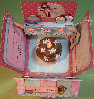 Sweet Shoppe Explosion Box ... cake inspired by a tutorial posted on Pinterest that originally came from SCS. :): Sweet Shoppe, Cards Box Cards, Box Cake, Explosion Cards, Exploding Boxes, 3D Cards, Explosion Boxes, Card Boxes