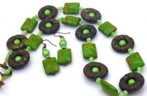 Donut shaped Pyrite Beads feature  in this necklace and is accented with green beads,   Necklace is designed and made in Australia, the necklace shown is the one that you will receive as all our necklaces are one offs - no two are the same. - plus matching earrings $37.95  www.robyndymond.com.au