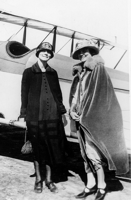Inez Bowlus (first wife of Hawley Bowlus) with Mrs. Richard Bowman, wife of one of the first pilots of Ryan Air.