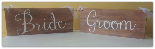 Timber Wedding signs created by Marlee & Ash Bride and Groom chair signs