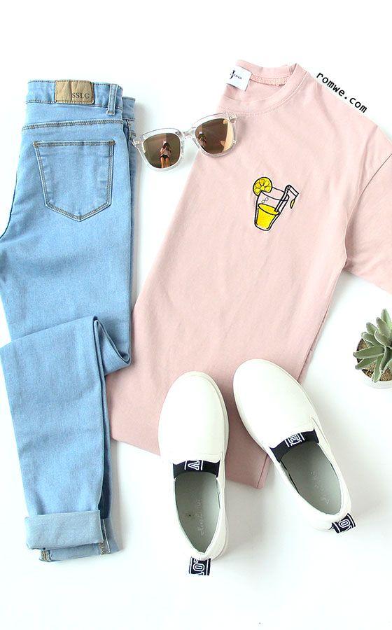 Lemon Juice Embroidered T-shirt - Pink