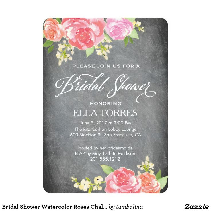 Bridal Shower Watercolor Roses Chalkboard 13 Cm X 18 Cm Invitation Card