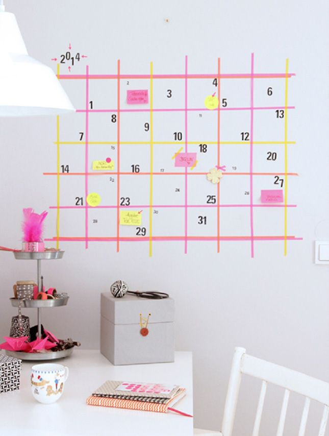 workspace inspiration : cute and easy neon washi tape wall calendar