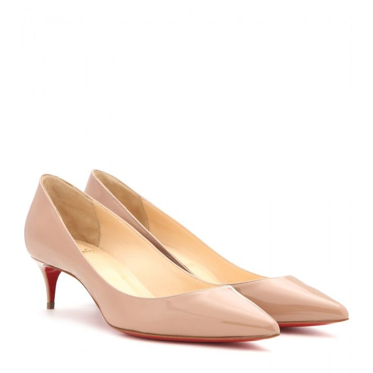 Christian Louboutin - Decollete 554 45 patent leather pumps - Enter Christian Louboutin's classic 'Decollete' pumps in nude patent leather. The pointed toe and kitten heel combine for a slick style that'll work around the clock. Add height to day looks by pairing them with chic dresses and smart tailoring, swapping to a chic suit come evening. seen @ www.mytheresa.com