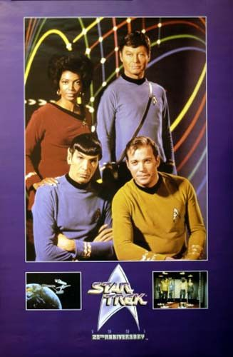 A great Star Trek 25th Anniversary cast poster! William Shatner, Leonard Nimoy, DeForest Kelley, and Nichelle Nichols. Published in 1991. Fully licensed. Ships fast. 24x36 inches. Boldly Go and check