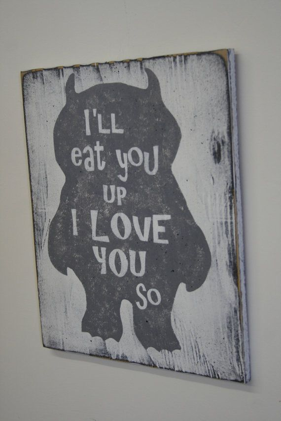 This is a sign made of sanded plywood. The background is painted white and monster is in color of your choice. Shown here is gray and wording is