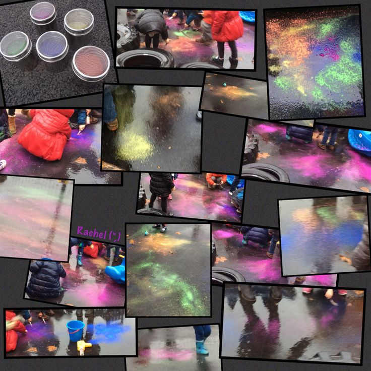 "Outdoor 'fireworks' (powder paint, brushes and rain) from Rachel ("",)"