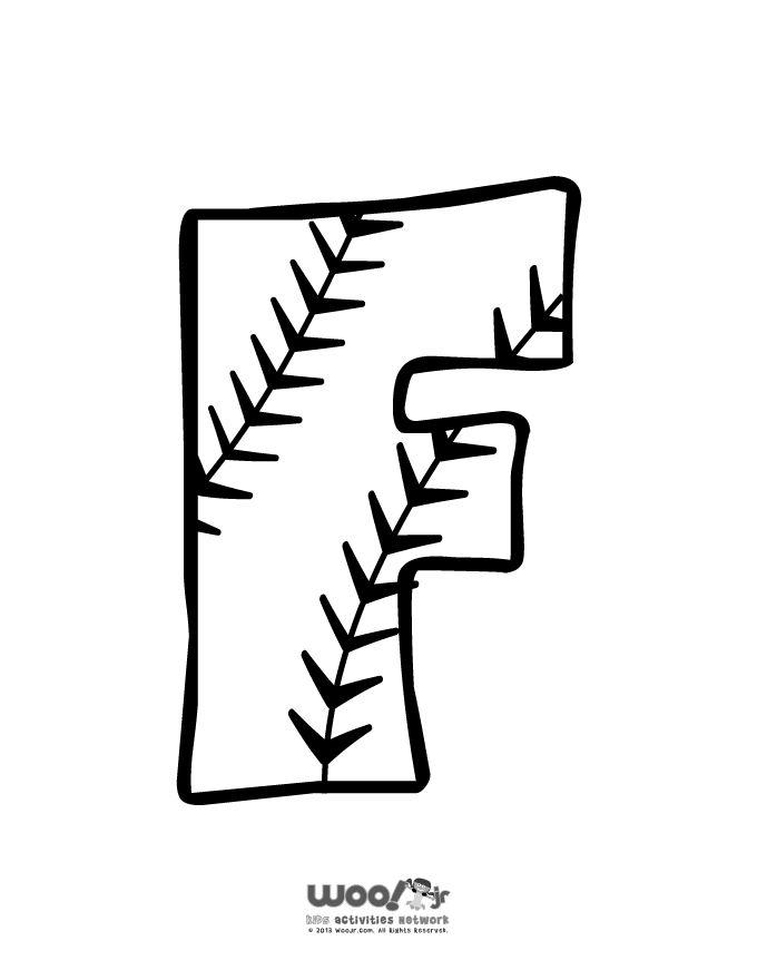 printable baseball alphabet letters baseball alphabet letter f craft jr - Baseball Shirt Design Ideas