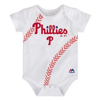 Newborn Philadelphia Phillies Majestic White Stitches Baseball Bodysuit
