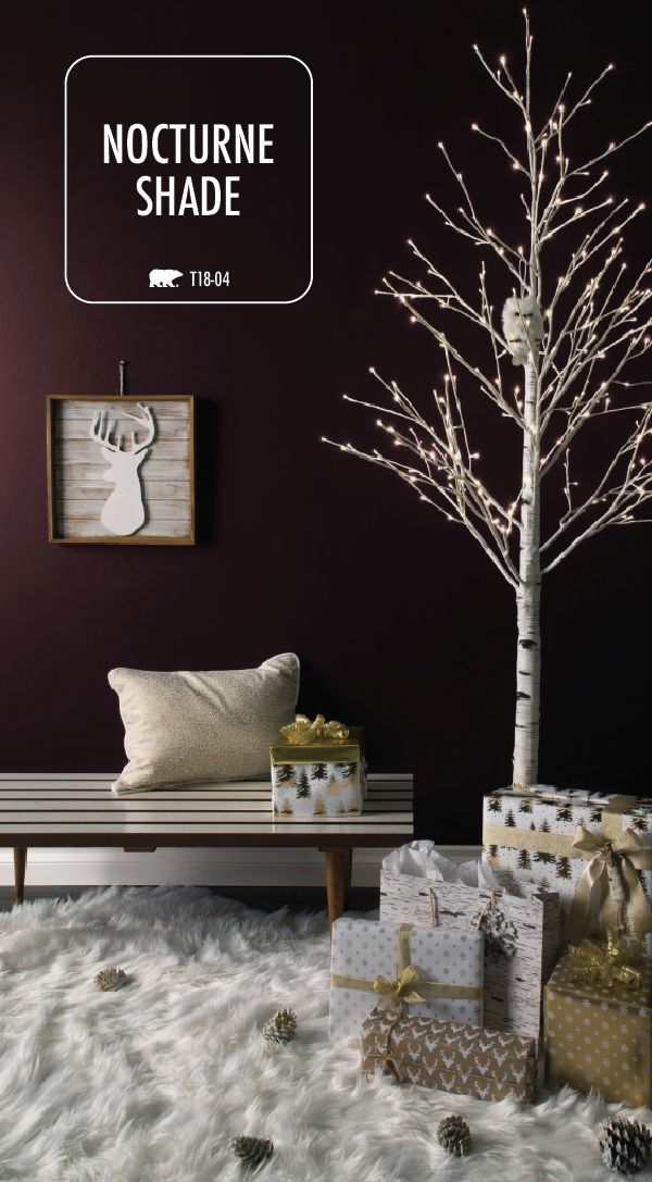 This holiday season, try something new with your home decorations. A fresh coat of paint is an easy way to give your home a DIY makeover. Find inspiration in the BEHR Paint Color of the Month: Nocturne Shade. This rich purple hue shines when paired with bright white and gold accents. Use a lighted birch tree and a fur rug to create this modern style.
