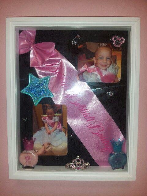 Disney's Bibbidi Bobbidi Boutique Shadow Box. Pink sash, tiara and nail polish from salon, with Cinderellas wishing star