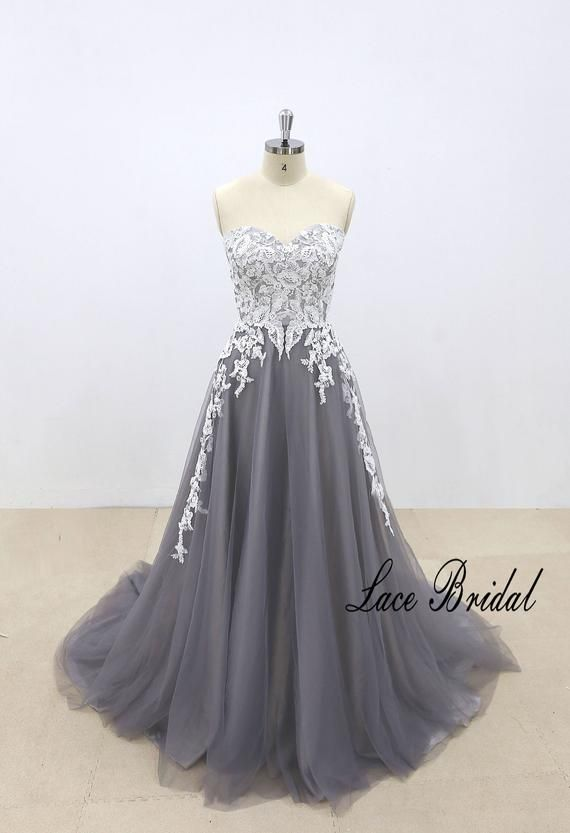 Dark Gray Tulle Wedding Dress Ivory Lace Wedding Dress With Etsy In 2020 Ivory Lace Wedding Dress Grey Wedding Dress Wedding Dresses Lace