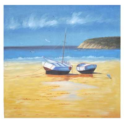 Boat On Beach Painting     was $79.99 now $55.99   SKU 108452   27inches widex 1inches longx 28inches high