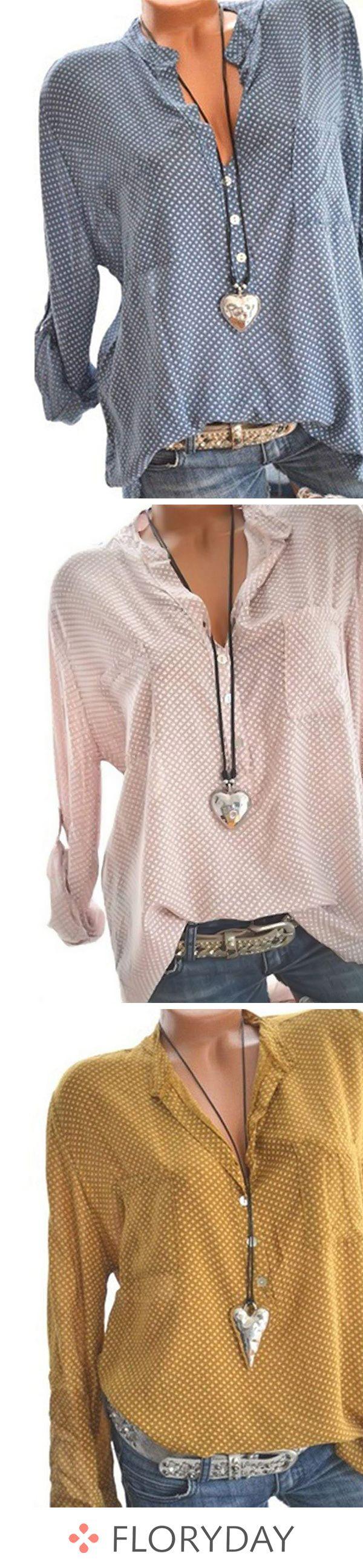 Polka Dot Cotton Blends V-Neckline Long Sleeve Blouses, polka dot, cotton blouse... 17