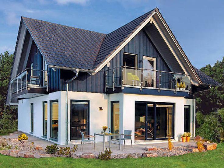 Hausidee 412.72 • Effizienzhaus von SchwörerHaus • Modernes Landhaus mit blauer Teil-Holzverschalung • Jetzt bei Musterhaus.net informieren!