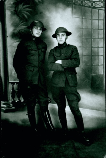 Walt Disney (right) with an army buddy in WWI