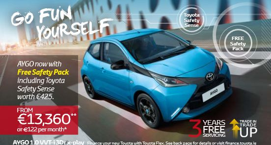 Toyota AYGO. Go Fun Yourself.  Stand out with AYGO's fresh, daring new design. You can make AYGO truly your own with the vast customisation possibilities that come with AYGO x-play and x-play+. With room for four in comfort and a compact and agile body, AYGO is ideal for exploring the city.