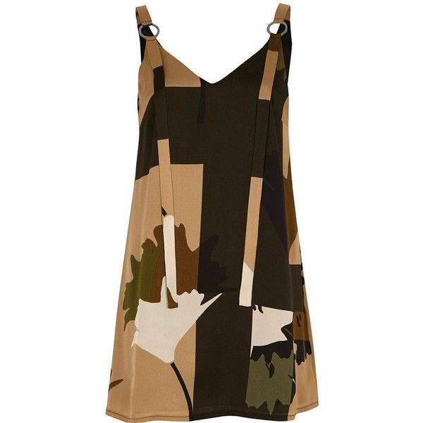 River Island Petite green printed eyelet slip dress (47.125 CLP) ❤ liked on Polyvore featuring dresses, green, slip / cami dresses, women, cami slip dress, eyelet dress, green dress, camisole slip and floral-print dresses