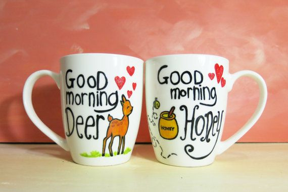 Good morning honey Good morning Deer white coffee mugs by CoralBel, $46.85