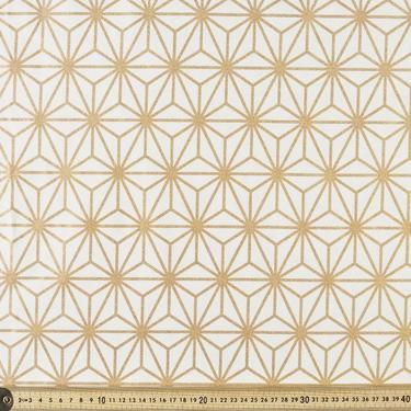 Buzoku Lattice Cotton Duck Natural & Gold 112 cm
