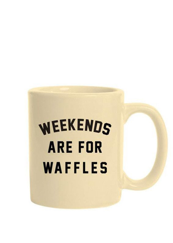 """The Weekends are for Waffles traditional mug is made of ceramic composite and is a glossy """"almond"""" color. Each side of the high quality, c-curved handle mug is"""