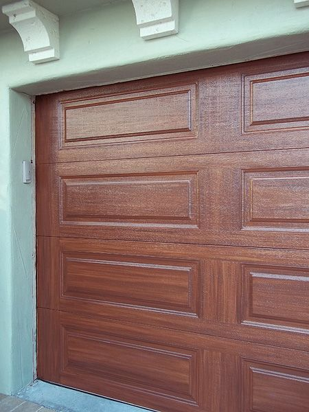 Paint garage door to look like wood looks pretty good for Paint garage door to look like wood