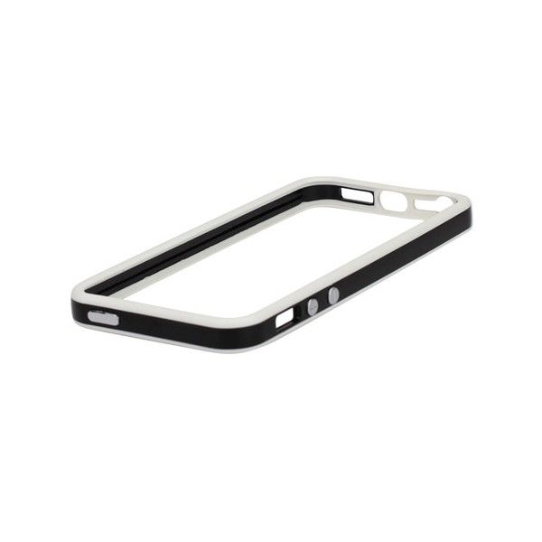 TPU & Silikon Bumper für Apple iPhone 5 & 5S Weiß-Schwarz