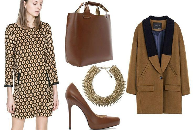 Zara Vestido de estampado geométrico en tono mostaza y marrón, 29.95€; abrigo de corte masculino con solapas en contraste, 79.95€; salones con tacón de 11.5 cm, 29.95€; 'shopper' de mano, 89.95€; y maxi gargantilla dorada, 22.95€