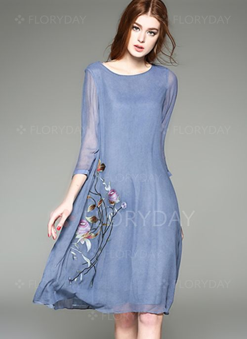 Dresses - $49.99 - Cotton Floral 3/4 Sleeves Knee-Length Casual Dresses (1955100313)