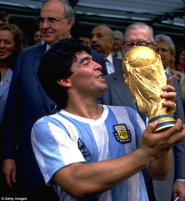 Diego Maradona (pictured with the World Cup in 1986) is one of the legends on the shortlist