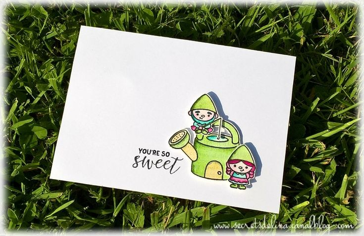 carte lutin arrosoir card #clearlybesotted #clearlybesottedstamps #sccrap #secretsdelina