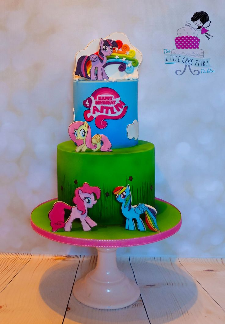 My Little Pony cake featuring handcut and handpainted 2D characters of Twilight Sparkle, Rainbow Dash, Fluttershy and Pinkie Pie.   www.littlecakefairydublin.com www.facebook.com/littlecakefairydublin