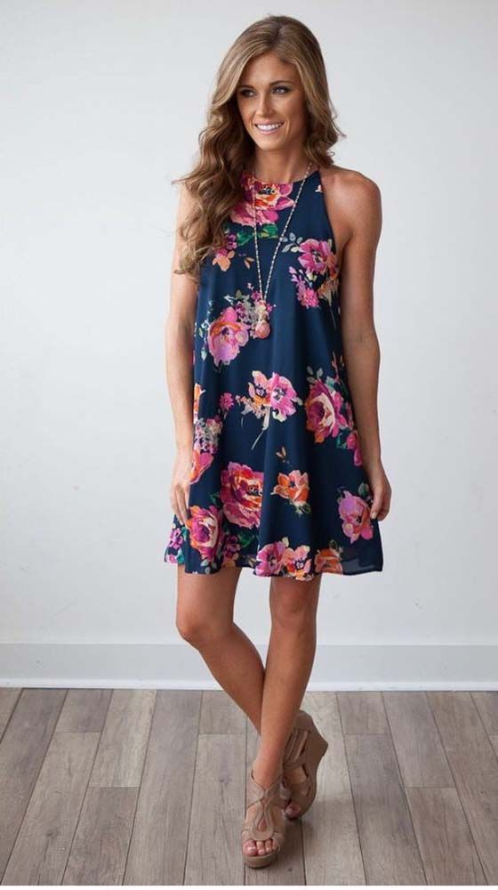 Adorable Navy Fl Dress With Pendant Necklace And Tan Wedges