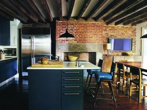 kitchen with brick fireplace
