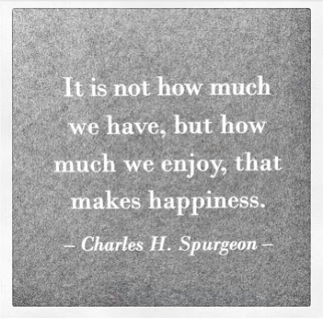 It is not how much we have, but how much we enjoy that makes happiness - Charles H. Spurgeon