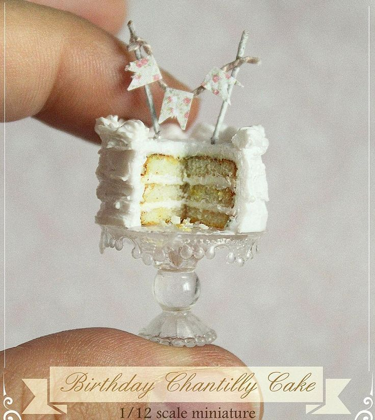 Dollhouse Miniature Birthday Chantilly Cake On A Crystal Cake Stand ✨