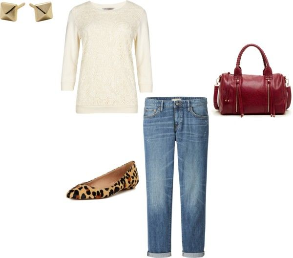 Dressy Sweatshirt + Boyfriend Jeans + Leopard Flats Dressy + Sweatshirt = Comfortably Stylish! Pair it up with your slouchy cuffed boyfriend jeans and cute leopard flats for even more comfort and ...