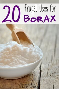 20 frugal uses for Borax around your home and yard. Tips for using Borax including cleaning tips, DIY home hacks, and ways to use Borax to get rid of pests.
