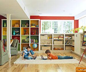 basement remodel: Built In, Color, Builtins, Playrooms, Basement Playroom, Basement Ideas, Basements